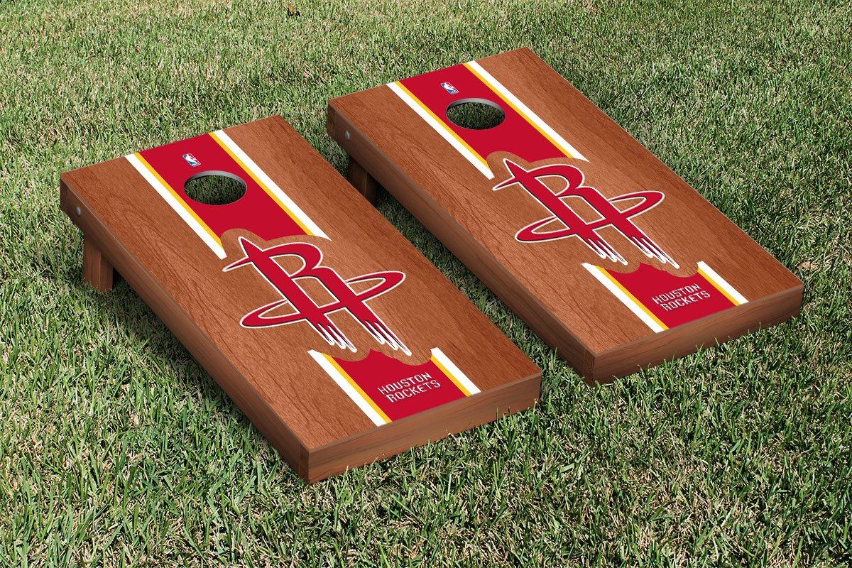 Houston Rockets NBA Basketball Cornhole Game Set Rosewood Stained Stripe Version
