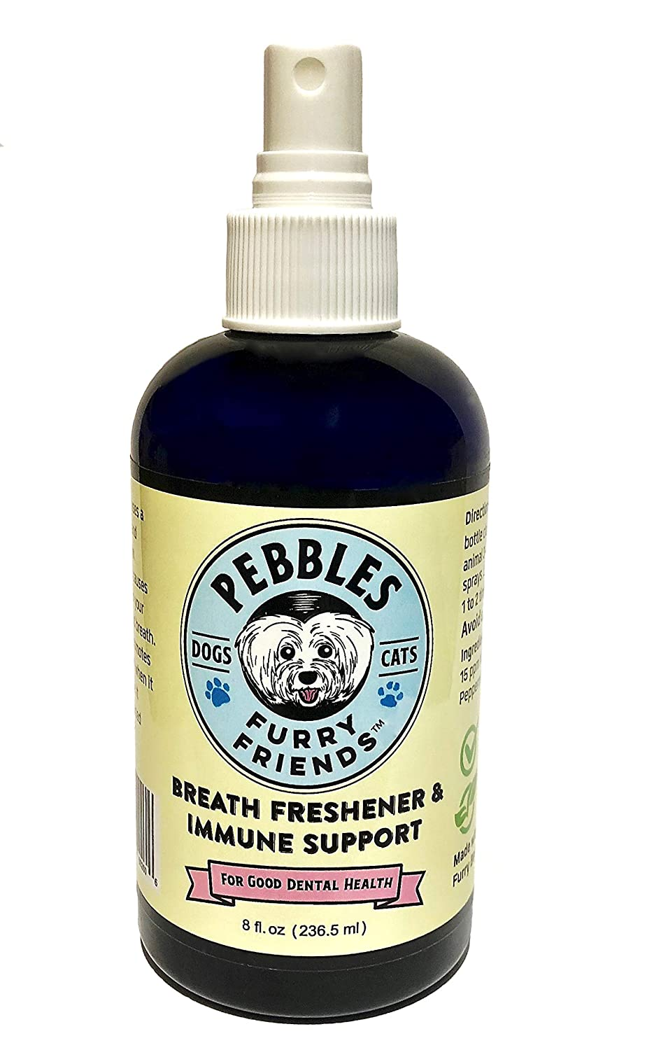 Pebbles Breath Freshener & Immune Support Spray • All Natural • NO Dangerous Chlorine Dioxide • Scientifically Proven to Eliminate Bacteria That Causes Bad Breath, Plaque and Tartar • 90 Day Supply