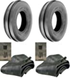 SCMAX LOT of Two (2) 6.00-16 6.00X16 600-16 Tri Rib (3 Rib) F-2 Tires with Tubes 6 PLY Rated