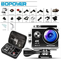 """4K Action Camera, Bopower 60fps WIFI Sport Anti-Shake Waterproof Camera with 2.4G RF Remote, Full HD 2.0""""Display, 170 degree Ultra Wide Lens, 2Pcs 1050mah Batteries, Ton of Accessories"""