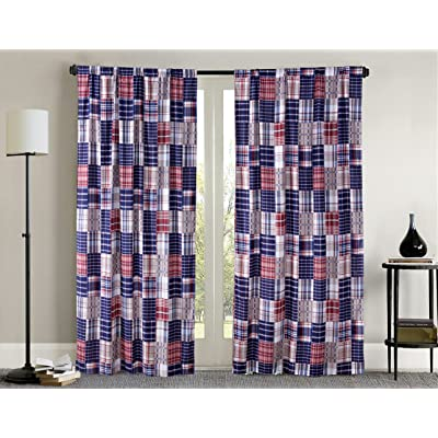 2 Piece Plaid Red, White and Blue Window Curtain Set (Matches our Baseball Sports Theme Bedding)