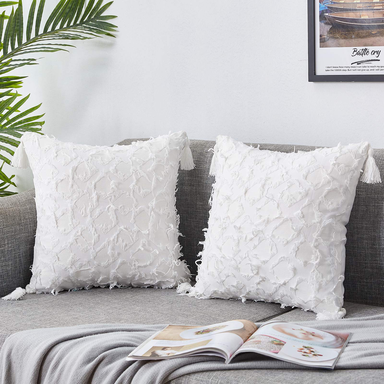 Bedwin Boho Throw Pillow Covers 18×18 White Pillow Covers with Tassels Linen