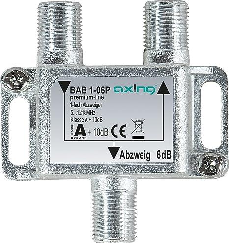 Axing BAB 1 – 06P 1 – Distribuidor de 6db Televisión por Cable CATV Multimedia DVB-T2 Clase A +, 10 dB, 5 – 1218 MHz Metal