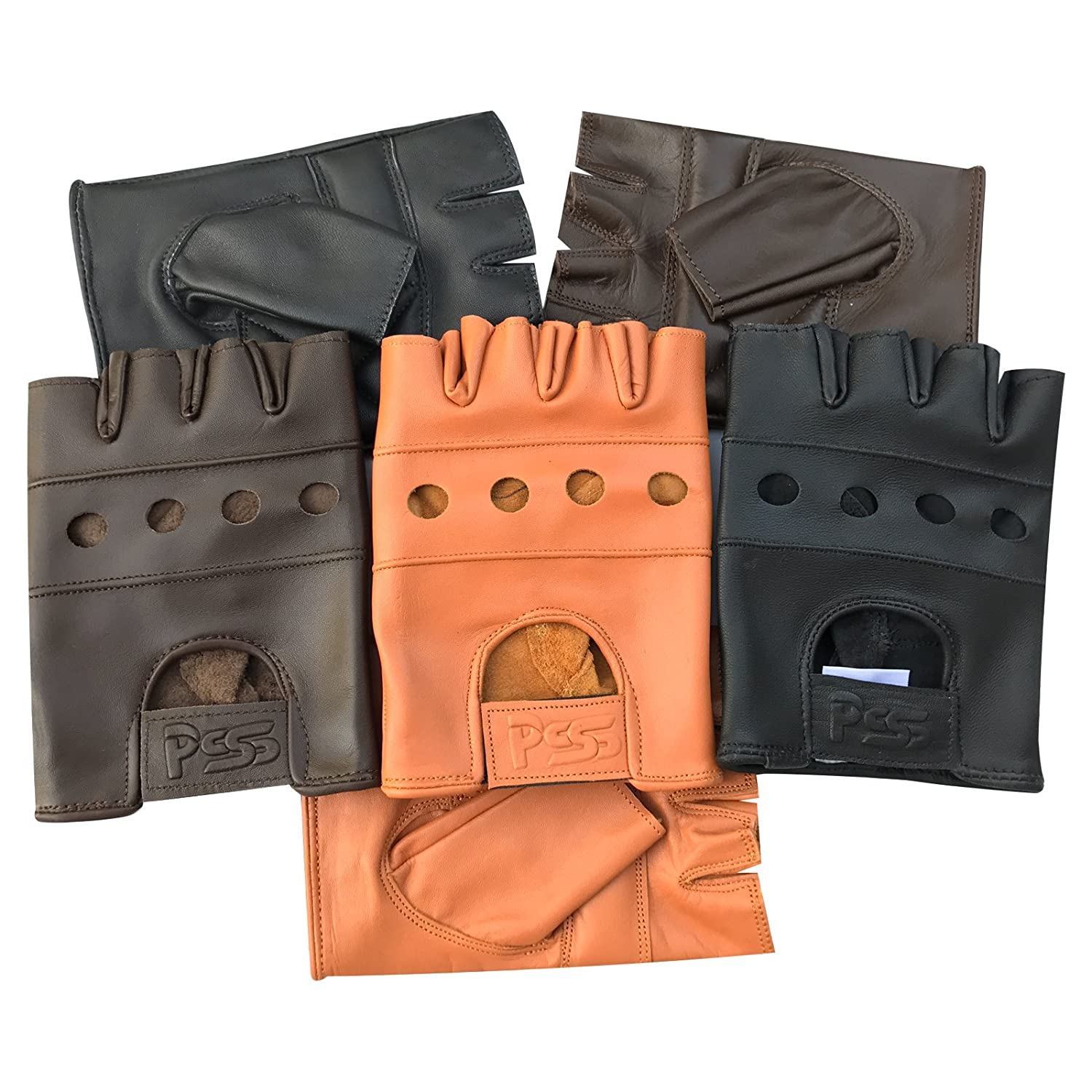 Real Leather Wheelchair Finger Less Biker Half Finger Driving Gym Cycling Gloves 503 Prime Leather