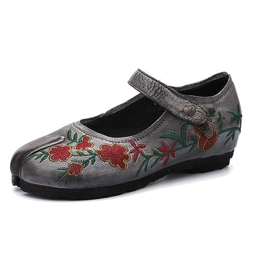 Chanclas de Cuero Genuino para Mujer Mocasines Flip Flop Bombas Bordadas Estilo Etnico Suela Blanda cómoda Zapatos Planos Primavera y Verano: Amazon.es: ...