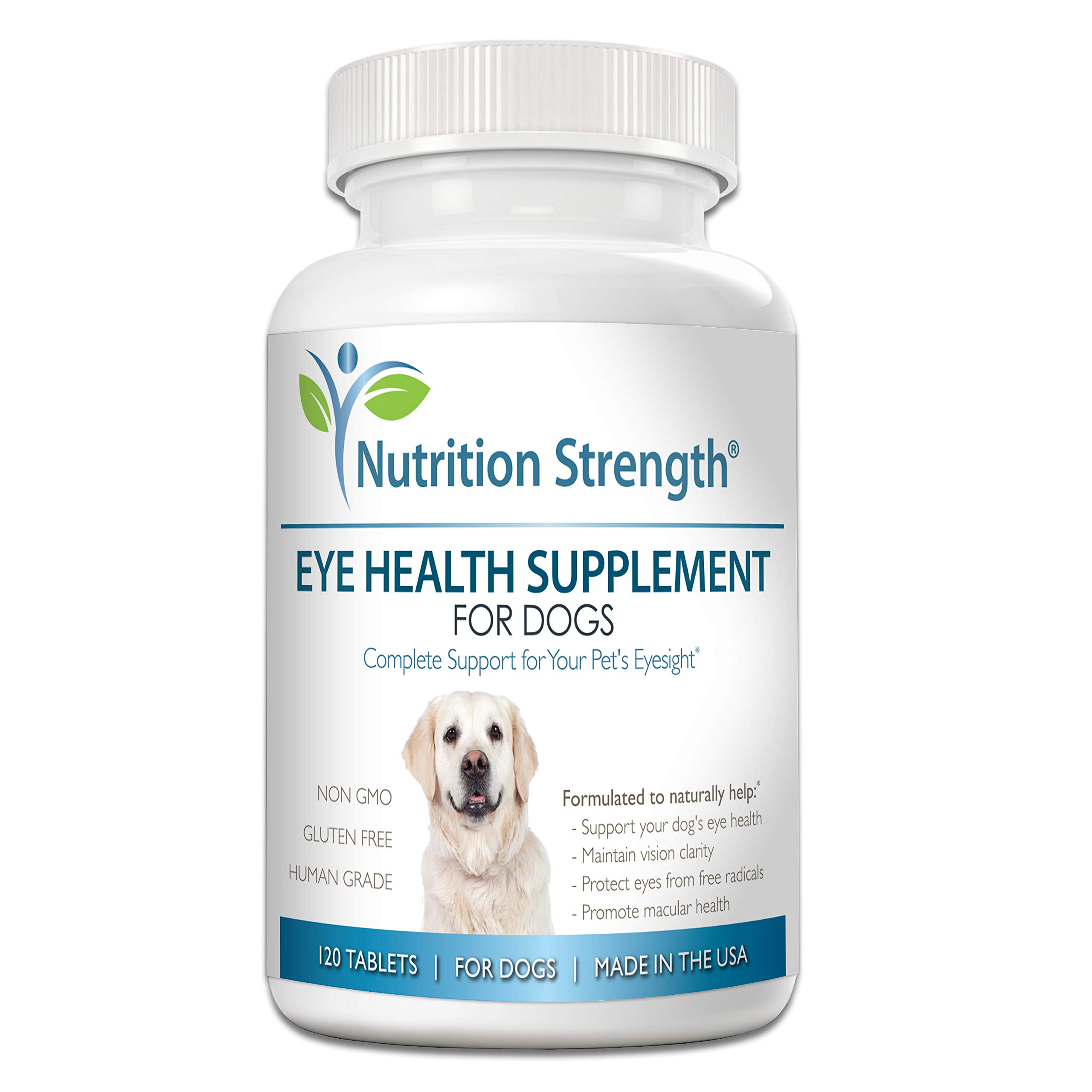Nutrition Strength Eye Health Supplement for Dogs with Lutein, Bilberry Fruit, Grape Seed & Green Tea Extract, Multivitamin Support for Dog Eye Allergies & Irritation Problems, 120 Chewable Tablets by Nutrition Strength