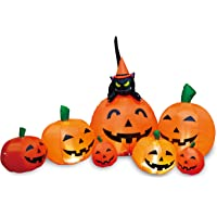 Joiedomi Halloween 7 FT Long Inflatable 7 Pumpkins with Witch's Cat with Build-in LEDs Blow Up Inflatables for Halloween Party Outdoor, Yard Decorations, Garden, Lawn