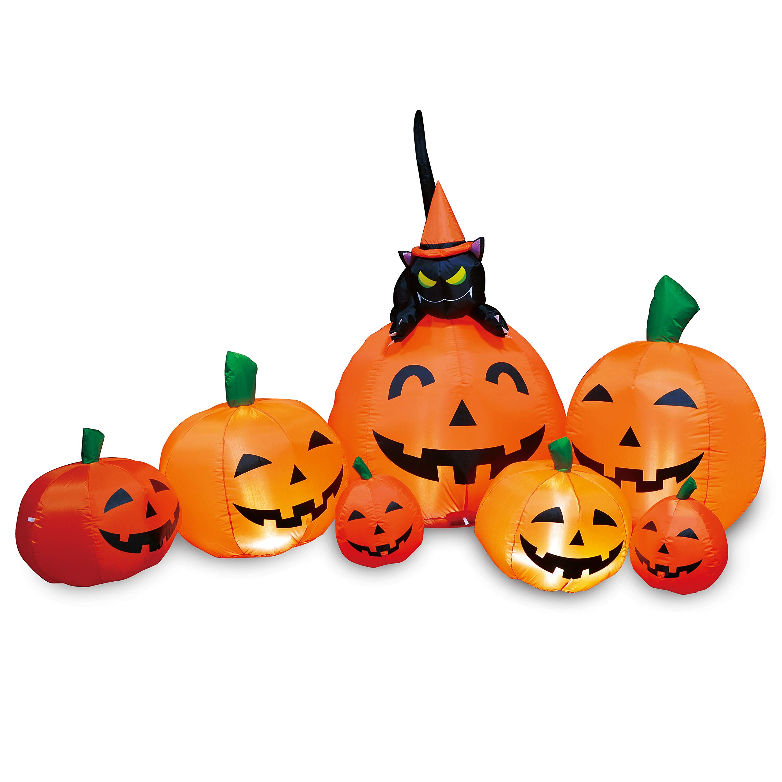 Joiedomi Halloween Inflatable Blow Up 7 Pumpkins with Witch's Cat - 7 Ft Wide