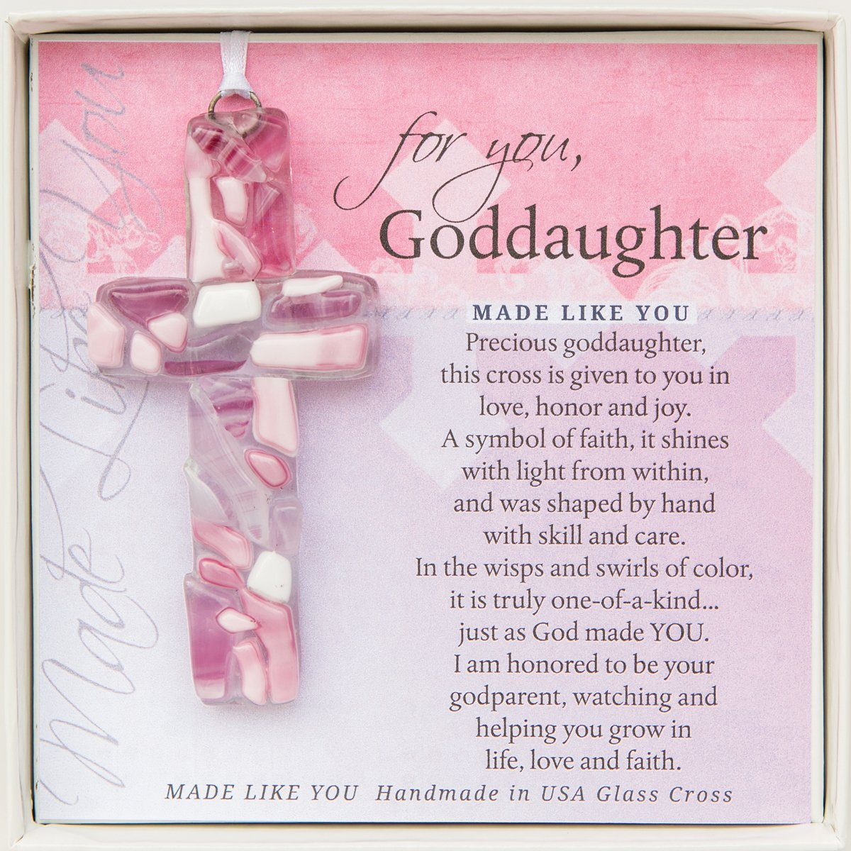 For You, Goddaughter Pink Mosaic Handmade Glass Cross Grandparent Gift