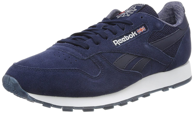 Reebok Herren CL Leather NM Fitnessschuhe, Schwarz  45 EU|Blau (Collegiate Navy/White)