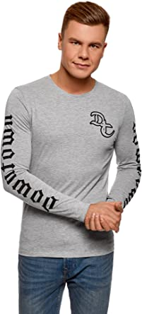 oodji Ultra Hombre Camiseta de Algodón con Estampado, Gris, ES 56 / XL: Amazon.es: Ropa y accesorios