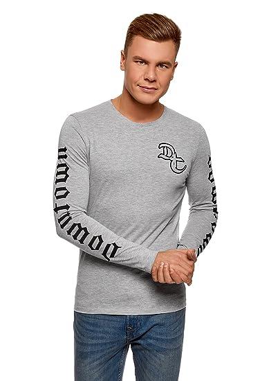 oodji Ultra Hombre Camiseta de Algodón con Estampado sin Etiqueta 6yXaAka