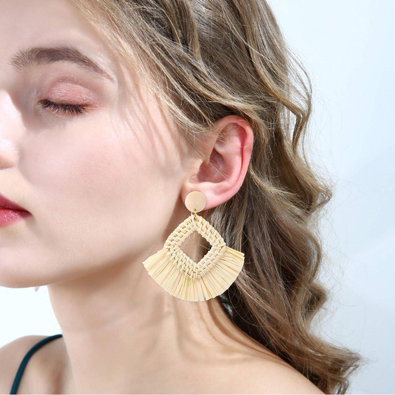 FUNRUN JEWELRY Rattan Tassel Earring for Women Straw Wicker Drop Dangle Raffia Earring Geometric Handmade Statement Hoop Earring Lighweight