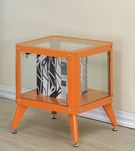 Furniture of America Essor Modern Glass Cabinet, Small, Orange