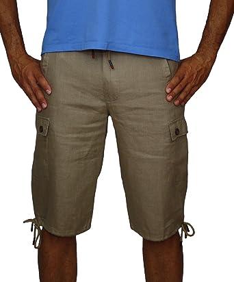 Messieurs 08637 pantalon lin 100 garçons marron bermuda linge les Hommes AxHqSP