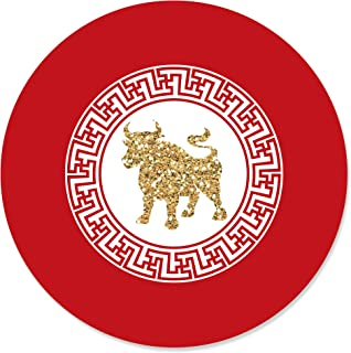 product image for Big Dot of Happiness Chinese New Year - 2021 Year of The Ox Party Circle Sticker Labels - 24 Count