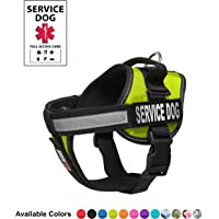"""Dogline Unimax Service Dog Vest and Free Service Dog ID Badge with ADA Law, Verde Lima (Lime Green), Medium (22""""-30"""")"""