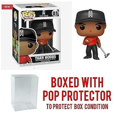 Pop Sports: PGA Tiger Woods Red Shirt Pop Vinyl Figure (Bundled with Pop Shield Protector): Toys & Games