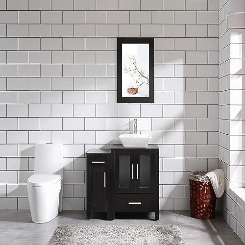 Deal of the week: 36″ Bathroom Vanity Cabinet Single Top Ceramic Sink Black Wood Texture w/Mirror Faucet Drain