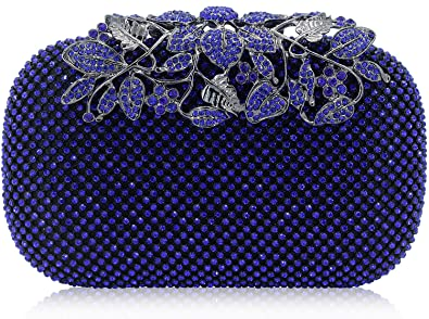 e5398dcb3b6d2 Dexmay Luxury Flower Women Clutch Purse Rhinestone Crystal Evening Bag for  Wedding Party Blue