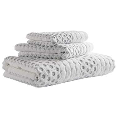 Stone & Beam Sculpted Dots with Woven Stripe Cotton Towel Set, Set of 3, Grey