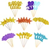 Mtlee 39 Pieces Glitter Mermaid Theme Cupcake Toppers for Baby Shower Birthday Party, Including Mermaid, Seahorse, Seashell, Fishtail, Starfish