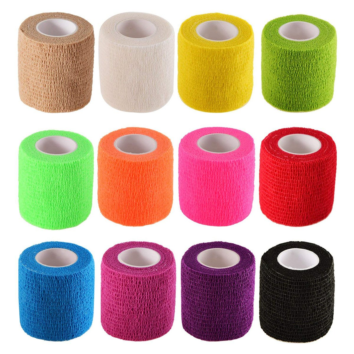 12 Rolls Self Adhesive Cohesive Bandage Wrap Stretch Self-Adherent Tape for Sports,Wrist, Ankle, First Aid,Camping,Travel etc (Assorted Colors,2 inches X 5 Yards)