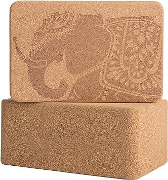 Cork Wood Yoga Blocks with Premium Designs, 2 Pack