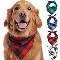Odi Style Buffalo Plaid Dog Bandana 4 Pack - Cotton Bandanas Handkerchiefs Scarfs Triangle…
