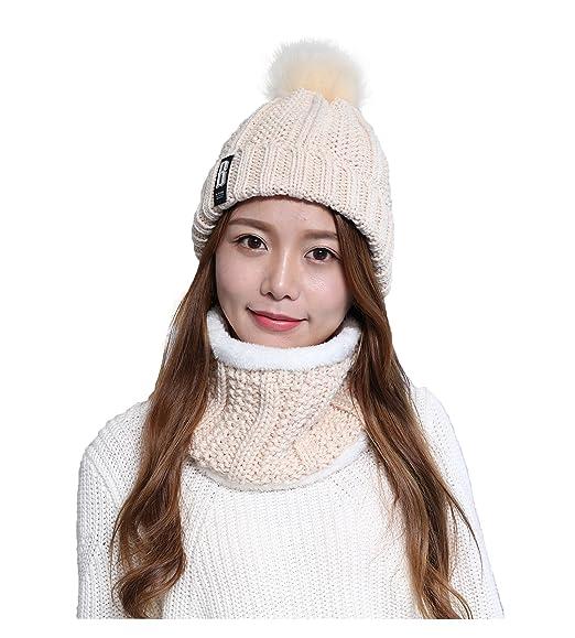 Jelinda® Chapeau d Hiver avec écharpe d Hiver en Tricot et Peluche Chaud e8e2c6667bd