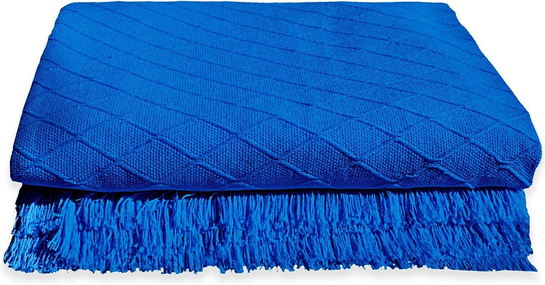 Trapposhome Manta Sofa. Protector Multiusos Liso. Sillon o Cama Individual. Colcha Cubrecama.Mascotas. Algodon. para Regalo. Rombos Color Azul. 180x260 cm