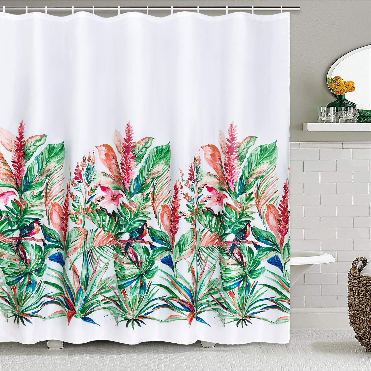 Plant Shower Curtain with 12 Hooks Watercolor Flower Shower Curtain for Bathroom Polyester Waterproof Fabric Shower Curtain