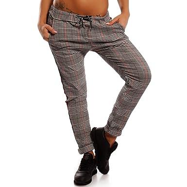 Damen Boyfriend Jeans Hose Jogger Style Freizeithose mit Seitenstreifen,  Farbe:Weiß/Schwarz;