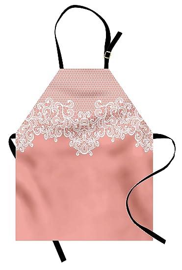amazon com ambesonne peach apron abstract lace design wedding rh amazon com