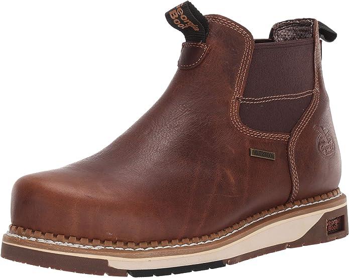Amazon Com Georgia Boot Amp Lt Wedge Steel Toe Waterproof Chelsea Work Boot Brown Industrial Construction Boots