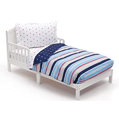 Amazon.com : Toddler Bedding Set | Boys 4 Piece Collection | Fitted Sheet, Flat Top Sheet w/ Elastic bottom, Fitted Comforter w/ Elastic bottom, Pillowcase | Delta Children | Boys Stars and Stripes | Red Blue Tan : Baby