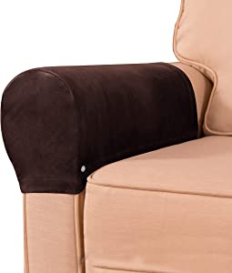 subrtex Velvet Armchair Covers Spandex Stretch Armrest Covers Anti-Slip Furniture Protector Armchair Slipcovers for Sofa with Free Twist Pins(Chocolate)