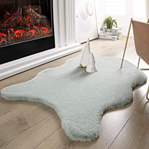 Ashler Ultra Soft Faux Rabbit Fur Chair Couch Cover Area Rug for Bedroom Floor Sofa Living Room Green 2 x 3 Feet
