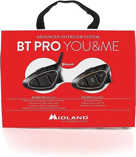 Nero Midland C1231.01 Btx2 Pro Twin Sistema di interfono con bluetooth