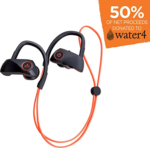 EcoSurvivor IPX7 Bluetooth Waterproof Earbuds, Flexible Ear Loops, Up to 10 Hours of Playtime, in-Bud Controller, Smartphone, Tablet, Outdoors, 50 Charity Give Back, Black, 43682