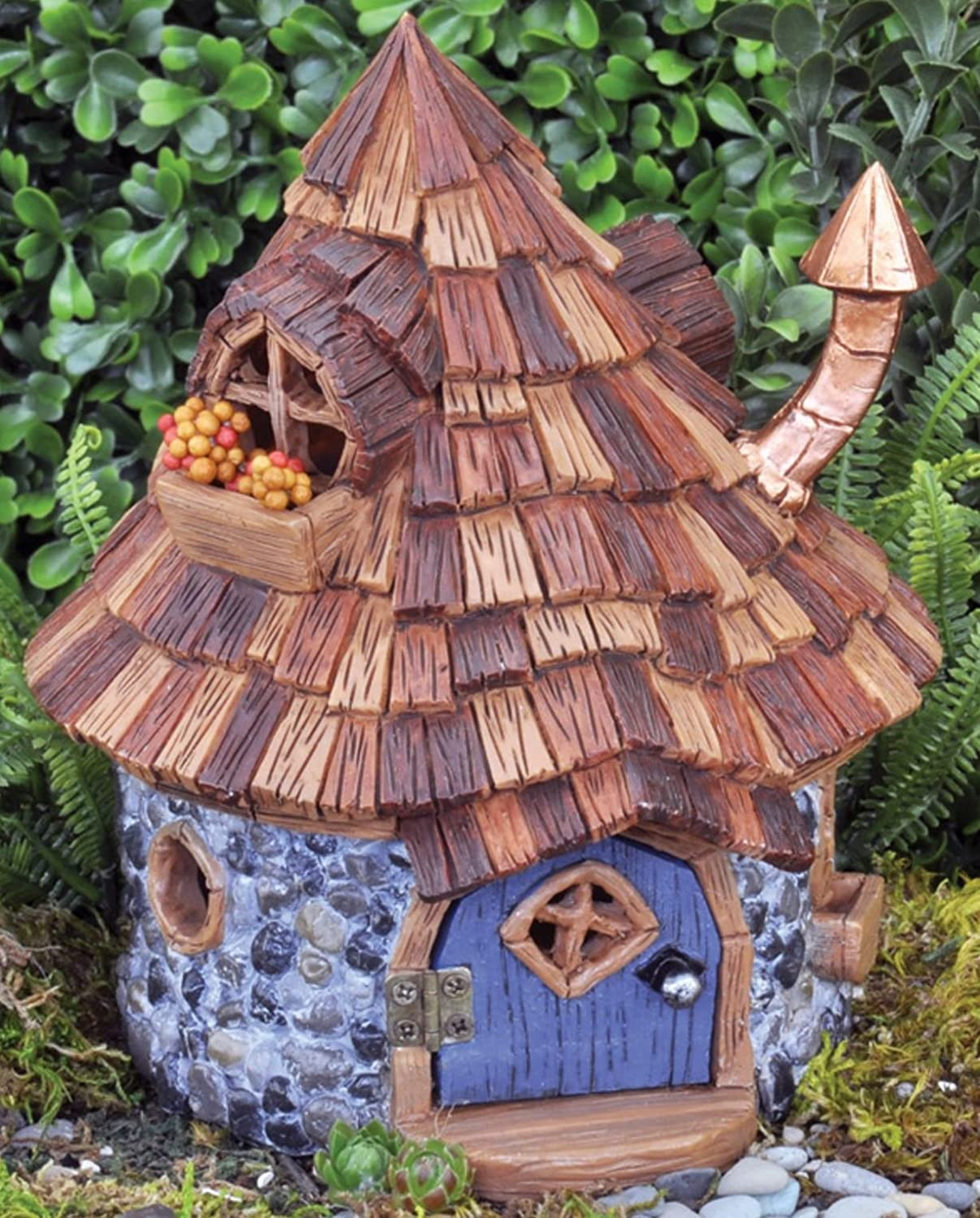 amazoncom shingletown cone top fairy house with door that opens and closes fiddlehead fairy garden garden outdoor - Fairy Garden Houses