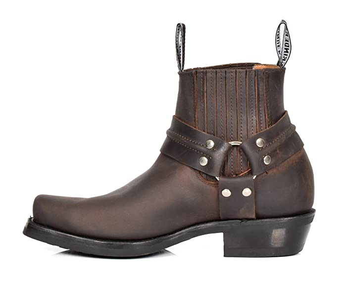House Of Leather Real Leather Chelsea Boots Cowboy Biker Style Slip on Square  Toe Shoes 04RE-Lo Brown: Amazon.co.uk: Shoes & Bags