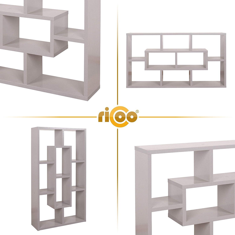 Ricoo Wm050 Pl Wandregal 85x48x16 Cm Holz Platin Grau Schmal