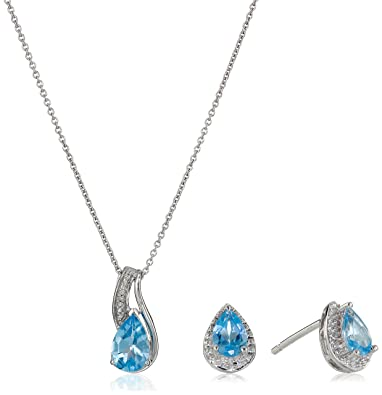 Amazon sterling silver blue topaz pear with diamond pendant sterling silver blue topaz pear with diamond pendant necklace and earrings box set aloadofball Image collections