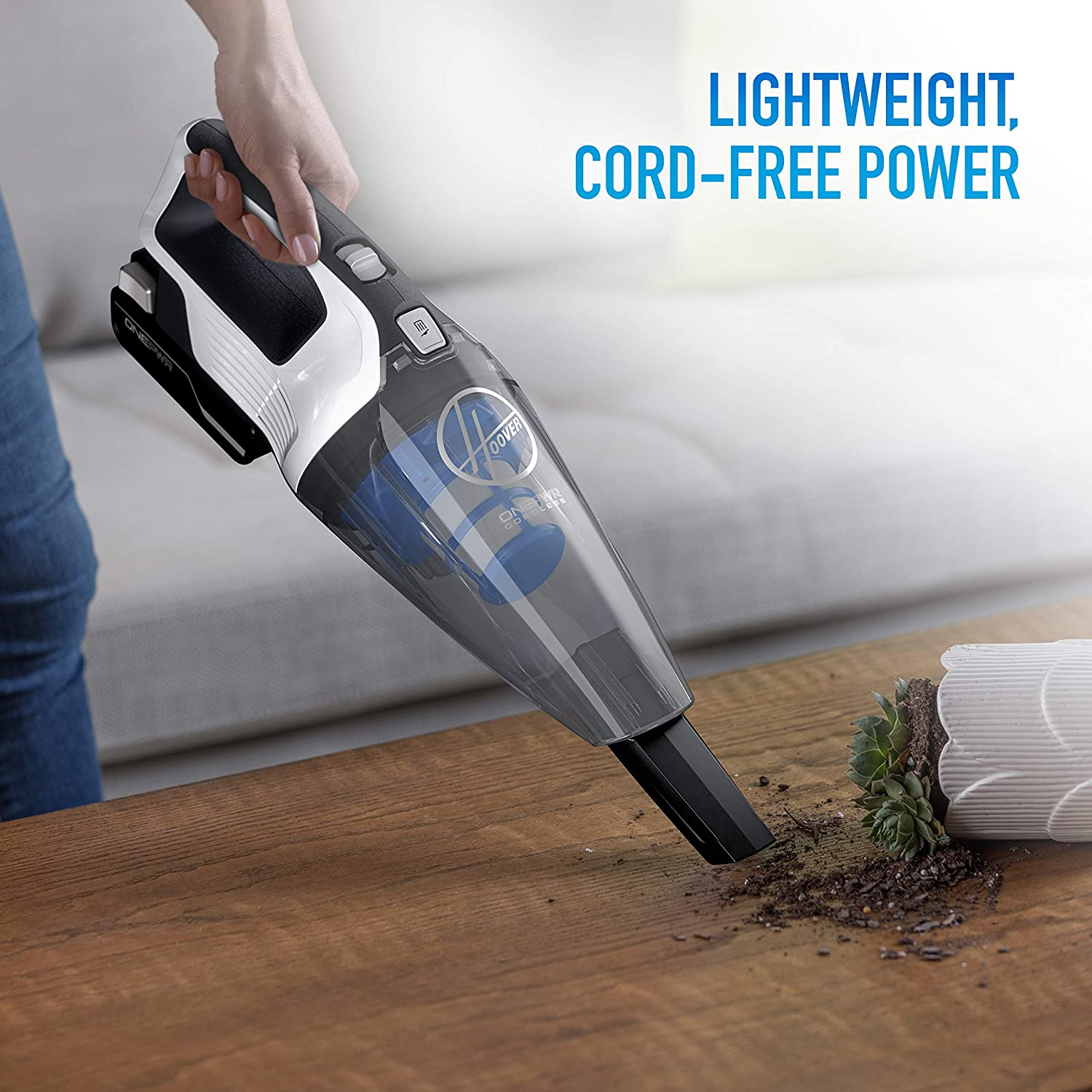 Lightweight BH57005 White Battery Powered Hoover ONEPWR Cordless Hand Held Vacuum Cleaner