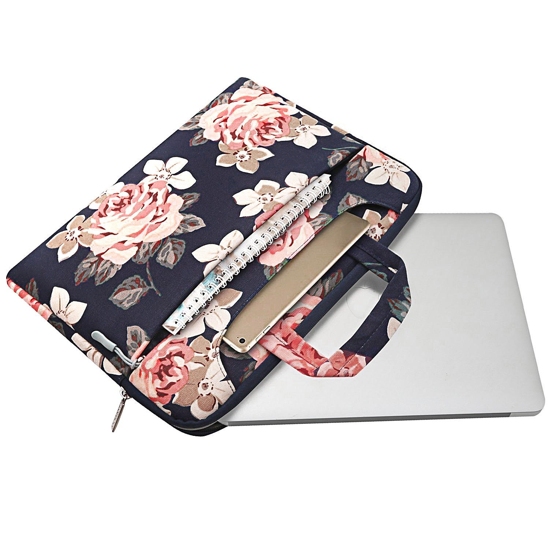 Noir MOSISO Housse Compatible 13-13,3 Pouces MacBook Air 13//MacBook Pro Retina 13//MacBook Pro 13 avec CD-Rom,Toile Sacoche Rose Motifs Messager Sac Bandouli/ère Ordinateur Portable