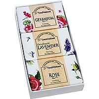 Flower Basket- 3 piece 100gm Natural Handmade Soaps - Geranium, Lavender, Rose