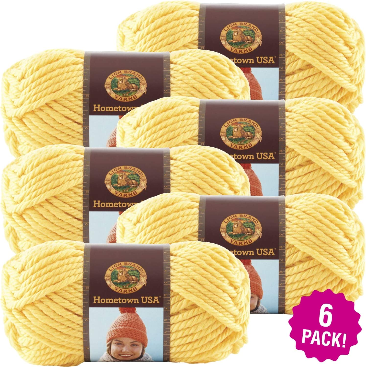 2 skeins Lion Brand Hometown USA Yarn in PITTSBURGH YELLOW