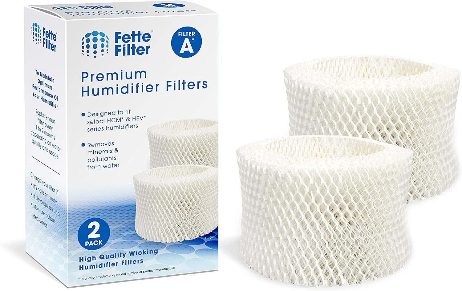Fette Filter - Humidifier Wicking Filters Compatible with Honeywell HAC-504AW, Filter A for Models HAC-504, HAC-504AW, HCM 350 and Other Cool Mist Models (Pack of 2)