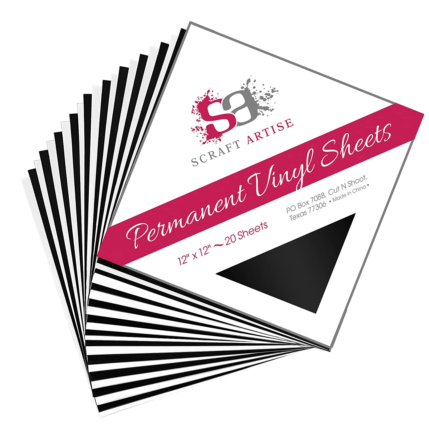 12x12 Permanent Vinyl, 20 Pack Black & White (10 of each) Outdoor Adhesive Backed Craft Sheets in Matte Finish for Silhouette and Cricut to Make Monograms Stickers Decals and Signs by Scraft Artise VPMBKW20A